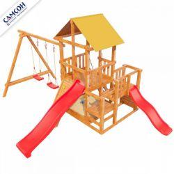 Детская деревянная площадка Самсон Сибирика с 2-я горками