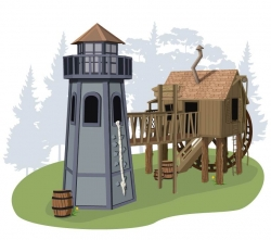 Домик «Тома Сойера» Crooked и маяк