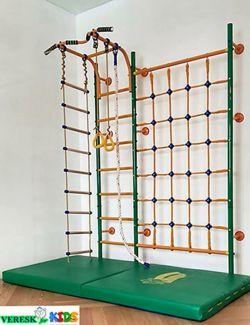 Пристенный ПЛЮС с сеткой для лазания ( регулируемый по высоте турник) (В комплекте с кольцами гимнастическими, канатом, лестницей веревочной)
