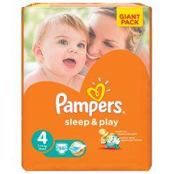 Подгузники КОМПЛЕКТ 86 шт., PAMPERS (Памперс) Sleep&Play, размер 4 (7-14 кг)