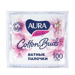 Ватные палочки КОМПЛЕКТ 100 шт., AURA, полиэтиленовый пакет, 1646, 6470