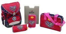 """Ранец DerDieDas ErgoFlex """"Цветочная любовь"""", спортивная сумка, два пенала и папка-бокс"""