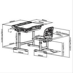 Комплект парта и стул-трансформеры FunDesk Cura Grey