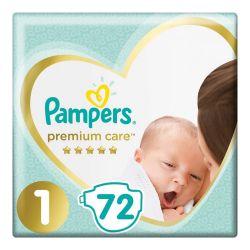 Подгузники 72 шт. PAMPERS (Памперс) Premium Care Newborn, размер 1 (2-5 кг), 1210787