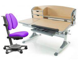 Комплект Mealux Парта Aivengo - L с креслом Cambridge Duo и прозрачной накладкой на парту 65х45