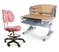 Комплект Mealux Парта Aivengo - M с креслом Simba и прозрачной накладкой на парту 65х45