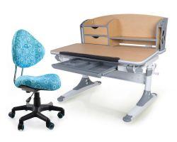 Комплект Mealux Парта Aivengo - M с компьютерным креслом Aladdin и прозрачной накладкой на парту 65х45