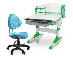 Комплект Mealux Парта Aivengo - S с компьютерным креслом Aladdin и прозрачной накладкой на парту 65х45
