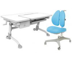 Комплект FunDesk Парта-трансформер Amare с ящиком с креслом Bello II и прозрачной накладкой на парту 65х45
