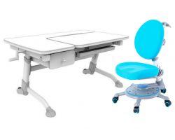 Комплект FunDesk Парта-трансформер Amare с ящиком с креслом SST1 и прозрачной накладкой на парту 65х45