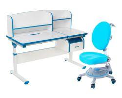Комплект FunDesk Парта-трансформер Creare с креслом SST1 и прозрачной накладкой на парту 65х45