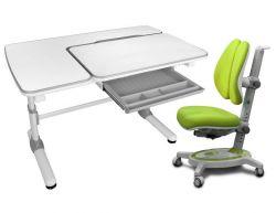 Комплект Mealux Парта Darwin с креслом Stanford Duo и прозрачной накладкой на парту 65х45