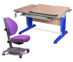 Комплект Mealux Стол Detroit с креслом Stanford и прозрачной накладкой на парту 65х45
