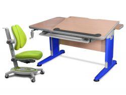 Комплект Mealux Стол Detroit с креслом Stanford Duo и прозрачной накладкой на парту 65х45