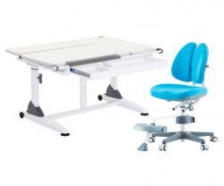 Комплект TCT Nanotec Парта G6+S (2 ГАЗ-ЛИФТА) с ортопедическим креслом Orto-Duo и прозрачной накладкой на парту 65х45