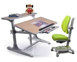 Комплект Mealux Стол Shubert с креслом Stanford Duo  и прозрачной накладкой на парту 65х45