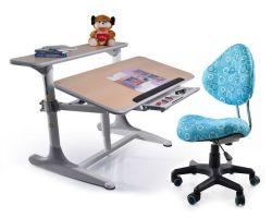 Комплект Mealux Стол Shubert с компьютерным креслом Aladdin и прозрачной накладкой на парту 65х45