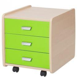 Тумба Астек Лидер береза на 3 ящика с цветными фасадами