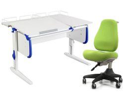 Комплект ДЭМИ Парта СУТ-25-01 WHITE DOUBLE с раздельной столешницей с креслом Match Chair и прозрачной накладкой на парту 65х45