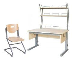 Комплект Астек Парта МОНО-2 с надстройкой со стулом SK-2 и прозрачной накладкой на парту 65х45