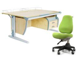 Комплект ДЭМИ Парта СУТ-15-04 120х55 см с задней приставкой с креслом Match Chair и прозрачной накладкой на парту 65х45