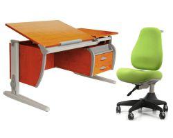 Комплект ДЭМИ Парта СУТ-17-04 120х80 см с креслом Match Chair и прозрачной накладкой на парту 65х45