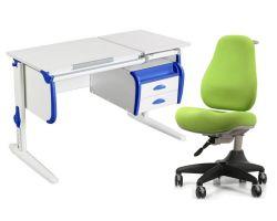 Комплект ДЭМИ Парта СУТ-25-03 WHITE DOUBLE с креслом Match Chair и прозрачной накладкой на парту 65х45