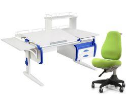 Комплект ДЭМИ Парта СУТ-25-05Д WHITE DOUBLE с креслом Match Chair и прозрачной накладкой на парту 65х45