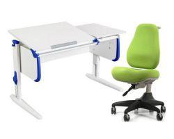 Комплект ДЭМИ Парта СУТ-25 WHITE DOUBLE с раздельной столешницей с креслом Match Chair и прозрачной накладкой на парту 65х45