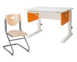 Комплект Астек Парта Юниор со стулом SK-2 и прозрачной накладкой на парту 65х45
