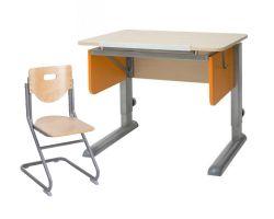 Комплект Астек Парта Юниор береза со стулом SK-2 и прозрачной накладкой на парту 65х45