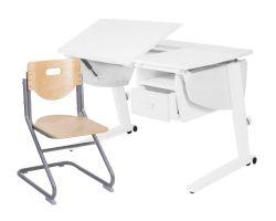 Комплект Астек Парта Прайм с тумбой со стулом SK-2 и прозрачной накладкой на парту 65х45