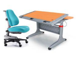 """Комплект Comf-pro Стол """"ТОКИО"""" (без ящика) с креслом «Newton» (Ньютон) и прозрачной накладкой на парту 65х45"""