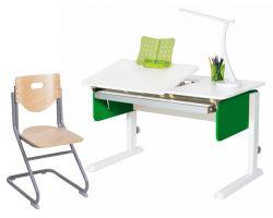 Комплект Астек Парта ЛИДЕР Белоснежный со стулом SK-2 и прозрачной накладкой на парту 65х45
