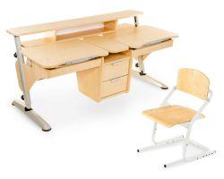 Комплект Pondi Парта Эргономик для двоих детей с растущим стулом и прозрачной накладкой на парту 65х45