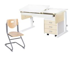 Комплект Астек Парта ЛИДЕР с выдвижным органайзером и тумбой со стулом SK-2 и прозрачной накладкой на парту 65х45