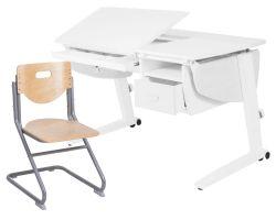 Комплект Астек Парта Прайм с подвесной тумбой и выдвижным органайзером со стулом SK-2 и прозрачной накладкой на парту 65х45