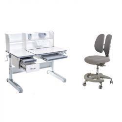 Комплект FunDesk парта Libro Grey и кресло Primo Grey