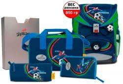 """Ранец ErgoFlex XL """"Футболист"""", спортивная сумка, два пенала и папка-бокс"""