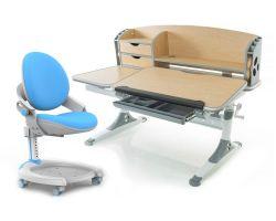 Комплект Mealux Парта Aivengo - L с креслом ZMAX-15 Plus и прозрачной накладкой на парту 65х45