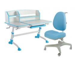 Комплект FunDesk Парта-трансформер Amare II с креслом Bello I и прозрачной накладкой на парту 65х45