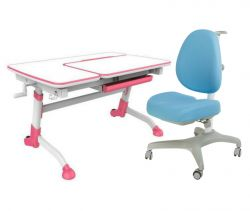 Комплект FunDesk Парта-трансформер Amare с креслом Bello I и прозрачной накладкой на парту 65х45