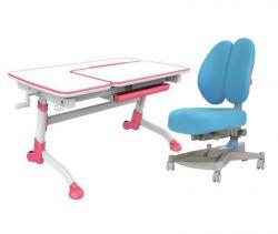 Комплект FunDesk Парта-трансформер Amare с креслом Contento и прозрачной накладкой на парту 65х45