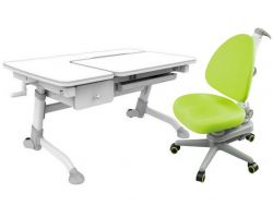 Комплект FunDesk Парта-трансформер Amare с ящиком с креслом SST10 и прозрачной накладкой на парту 65х45