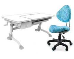 Комплект FunDesk Парта-трансформер Amare с ящиком с креслом SST5 и прозрачной накладкой на парту 65х45