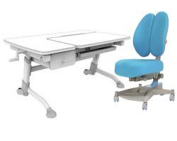 Комплект FunDesk Парта-трансформер Amare с ящиком с креслом Contento и прозрачной накладкой на парту 65х45