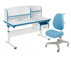 Комплект FunDesk Парта-трансформер Creare с креслом Bello I и прозрачной накладкой на парту 65х45