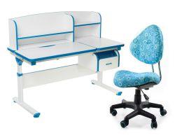 Комплект FunDesk Парта-трансформер Creare с креслом SST5 и прозрачной накладкой на парту 65х45