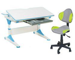 Комплект FunDesk Парта-трансформер Trovare с креслом LST3 и прозрачной накладкой на парту 65х45