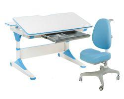 Комплект FunDesk Парта-трансформер Trovare с креслом Bello I и прозрачной накладкой на парту 65х45